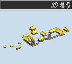 黄色古建筑3D模型