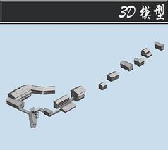 灰白色古建群3D模型