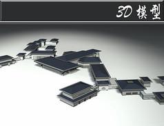 灰蓝色矮式古建3D模型