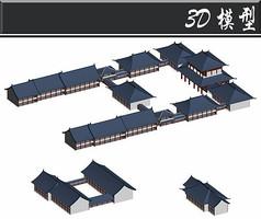 蓝色屋檐古建3D模型
