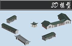 绿色屋檐古建3D模型