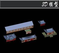 紫色飞檐古建3D模型
