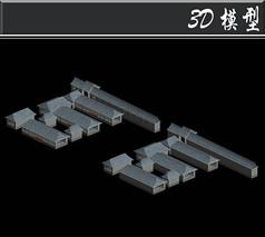 灰色古建3D模型