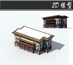 白红色藏式建筑3D模型