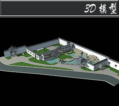 徽派3D古建场景模型
