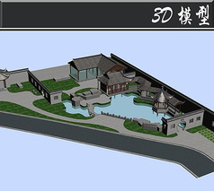 三角古建花园3D模型