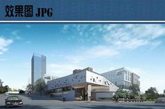 现代产业园建筑透视效果图