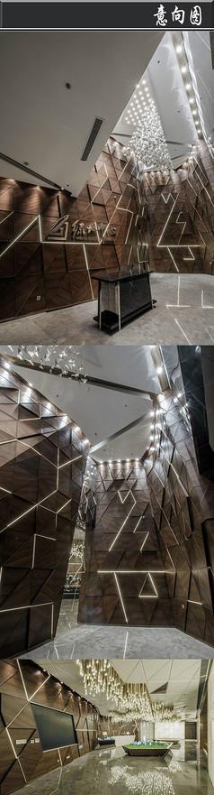 三角形木头拼接创意售楼处意向