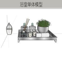 玻璃瓶装浴室用品模型