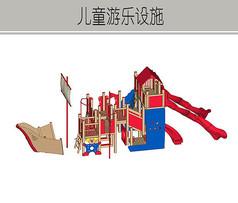 木制红色儿童滑滑梯设施