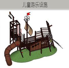 深色船只木质儿童游乐设施