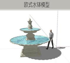精简小型两层水钵模型
