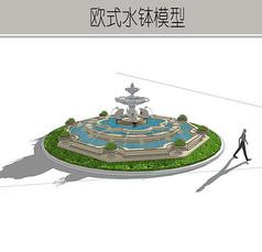 圆形欧式精致喷泉模型