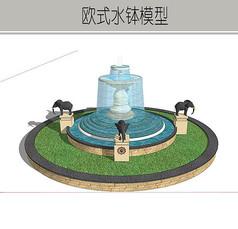 圆形大象雕塑水钵模型
