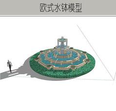 圆形欧式精致叠泉模型
