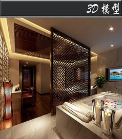 新中式会所包厢3D模型