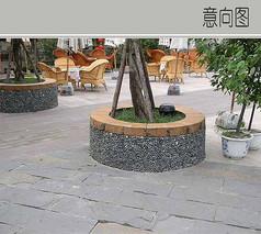 圆形石子树池
