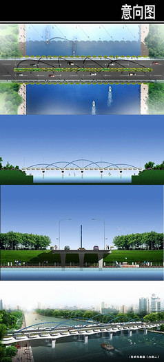某桥造型设计平立剖鸟瞰