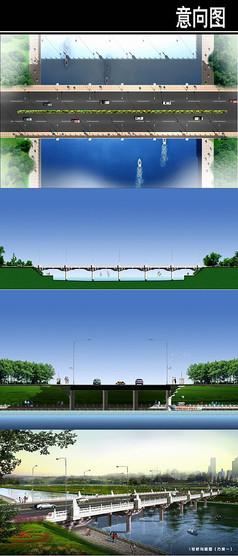 桥方案平立剖鸟瞰
