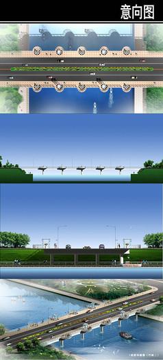 桥方案造型平立剖鸟瞰