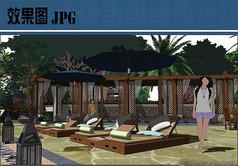 养生度假酒店按摩池效果图