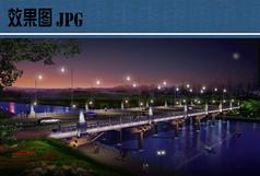 大桥设计夜景效果图