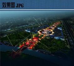 人民广场夜景鸟瞰图