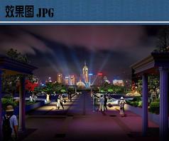 城市广场绿地景观夜景效果图