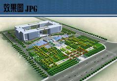 市民广场景观设计鸟瞰效果图