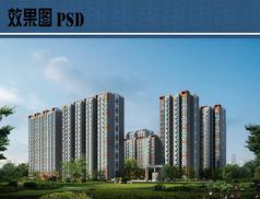 高层住宅建筑效果图PSD