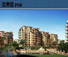 花园洋房建筑效果图PSD