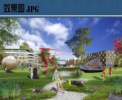 公园主题雕塑区效果图