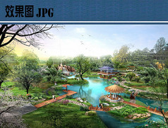 公园滨水节点鸟瞰图