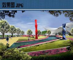 公园雕塑区景观效果图
