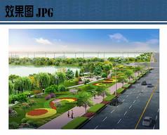 道路绿化景观效果透视图