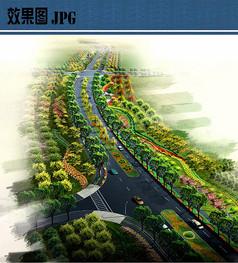 道路绿化鸟瞰效果图