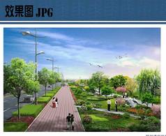 道路绿地景观设计效果图