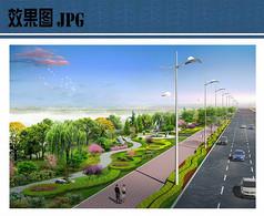 道路绿化景观局部效果图