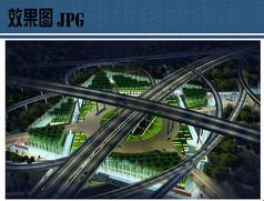 高架桥绿地夜景鸟瞰图