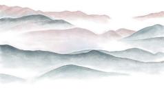简约手绘抽象水墨山水背景墙