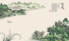 中式简约山水情唯美电视背景墙
