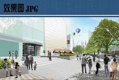 购物中心街景景观效果图