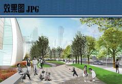 购物中心绿地景观效果图