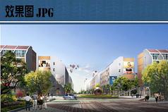 商业步行街入口景观效果图
