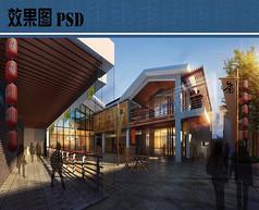 茶室设计效果图PSD