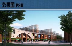 商业区建筑效果图PSD