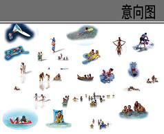 海滩游水人物素材