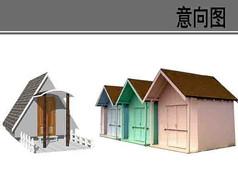 坡顶小木屋素材