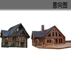 木质别墅建筑素材