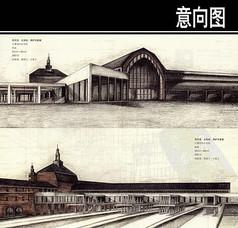 吕贝克火车站手绘图